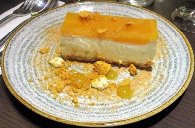 My dessert of Amaretti and lemon cheesecake, orange jelly, honeycomb, with lemon mascarpone was rich and tangy
