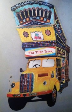 One of the bright and colourful images which decorate the walls at The Tiffin Truck. I loved the graphics!