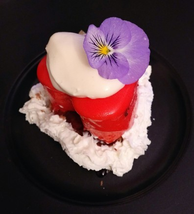 7th course - Strawberry mousse stuffed jamun with mirror glaze