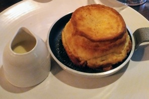 Two of our party chose the Cheddar cheese soufflé, served with warm Ford Farm Coastal Cheddar sauce. It was perfectly light and delicious.