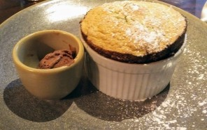 For my dessert I couldn't resist this Pistachio soufflé, famously light with rich chocolate ice cream.